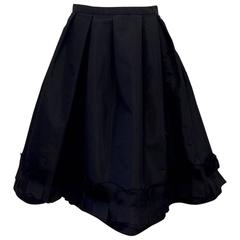 Oscar de la Renta Silk Blend Taffeta Full Skirt With Folded and Pleated Hem