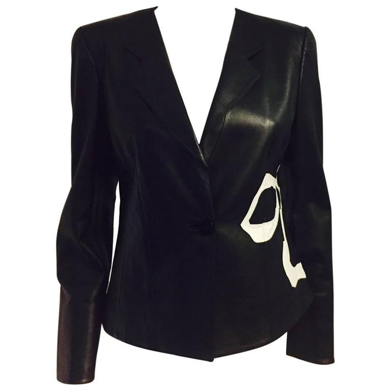 Armani Collezioni Fitted Black Leather Jacket With Abstract Floral Design