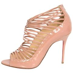 Christian Louboutin Nude Patent Leather Gortika Strappy Booties Sz 39.5