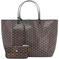 Goyard St Louis GM Black Chevron Leather Canvas Tote Bag
