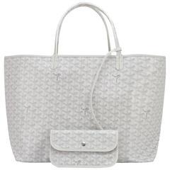 Goyard White St Louis GM Chevron Leather Canvas Tote Bag Summer