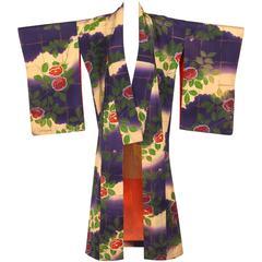 Couture c.1920's Multicolor Floral Print Silk Kimono