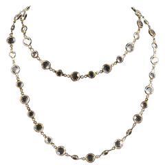 "Chanel Necklace - 41"" Clear Glass Gripoix Glass Gold Sautoir Necklace 1981 Charm"
