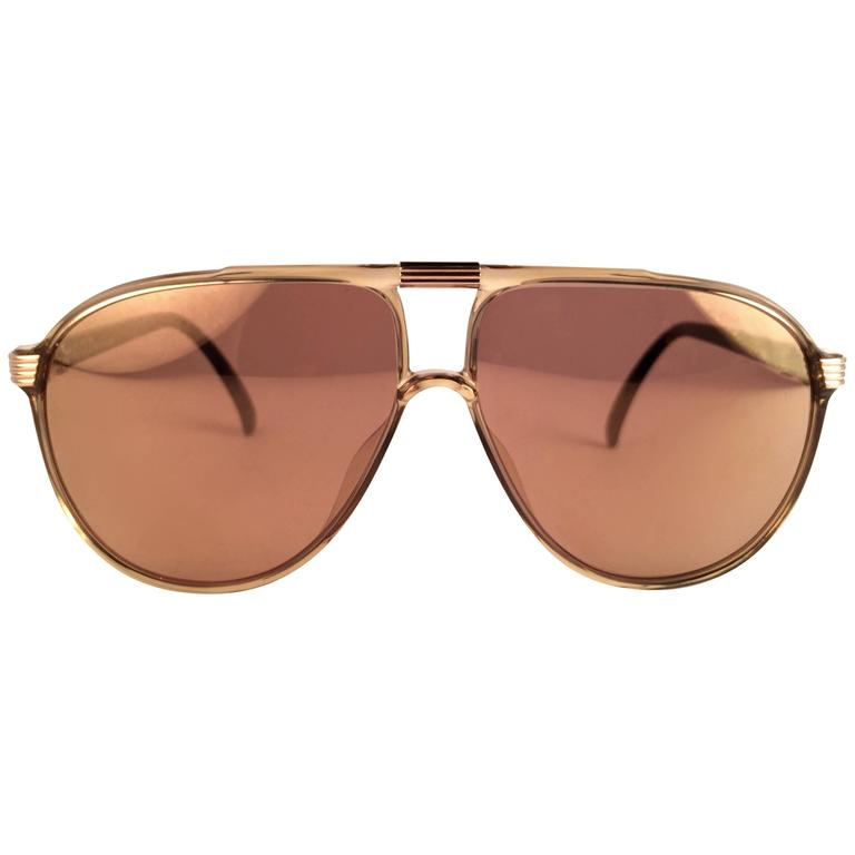 New Vintage Christian Dior Monsieur 2300 20 Optyl Gold Mirror 1970 Sunglasses
