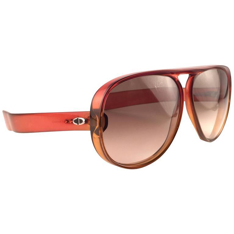 New Vintage Christian Dior Monsieur D60 J30 Dark Amber Aviator 1970 Sunglasses 1