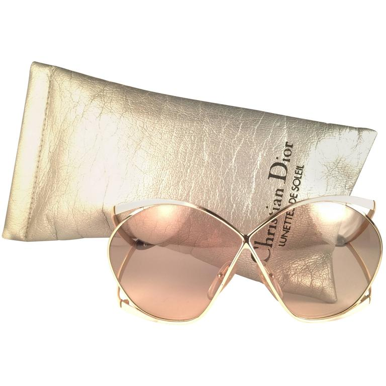 7673bb1c69 New Vintage Christian Dior 2056 70 Butterfly Gold White and Beige Sunglasses  For Sale at 1stdibs
