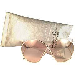 New Vintage Christian Dior 2056 70 Butterfly Gold White & Beige Sunglasses