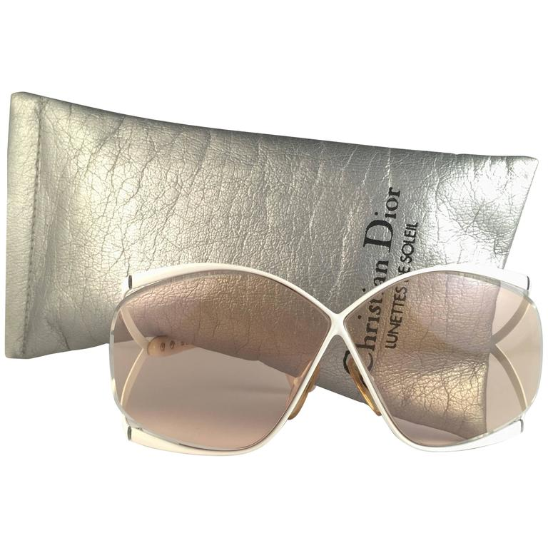 New Vintage Christian Dior 2056 70 Butterfly White & Beige Sunglasses  For Sale