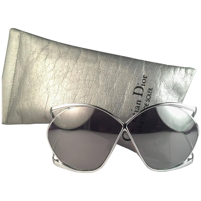 c136b7fdf48 New Vintage Christian Dior 2056 Butterfly Silver Metal Mirror Lenses  Sunglasses For Sale