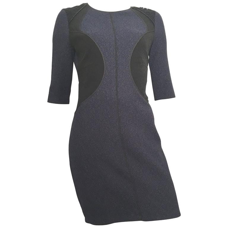 Nina Ricci Silk Navy & Black Sexy Dress Size 40 / 8.