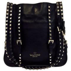 Valentino Garavani Rockstud Strap Black Nappa Leather Tote