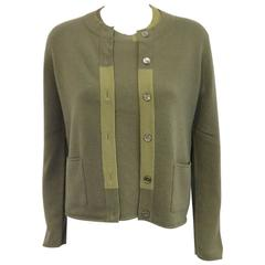 Chanel Fall 1998 Olive Cashmere Twinset With Color Blocked Placket and Collar