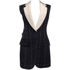 Alexander McQueen Black, Tailored, Deconstructed Wool Vest