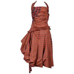 Comme des Garcons Red Tartan Halter Dress 2005