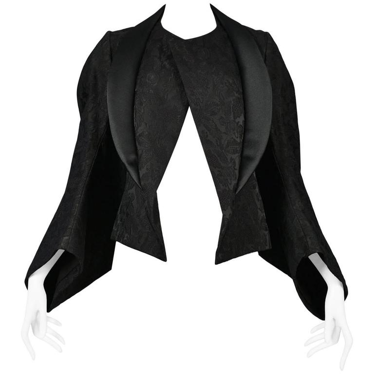 Comme des Garcons Black Brocade Batwing Jacket 2004