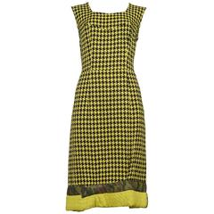 Comme des Garcons Yellow & Black Houndstooth Dress 2000