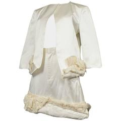 Comme des Garcons Off White Satin Skirt Ensemble 2000