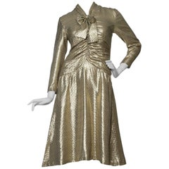A 1970s Hanae Mori Gold Lamé Dress