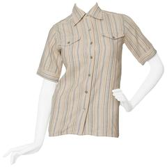 A 1970s Yves Saint Laurent Rive Gauche Short Sleeve Shirt