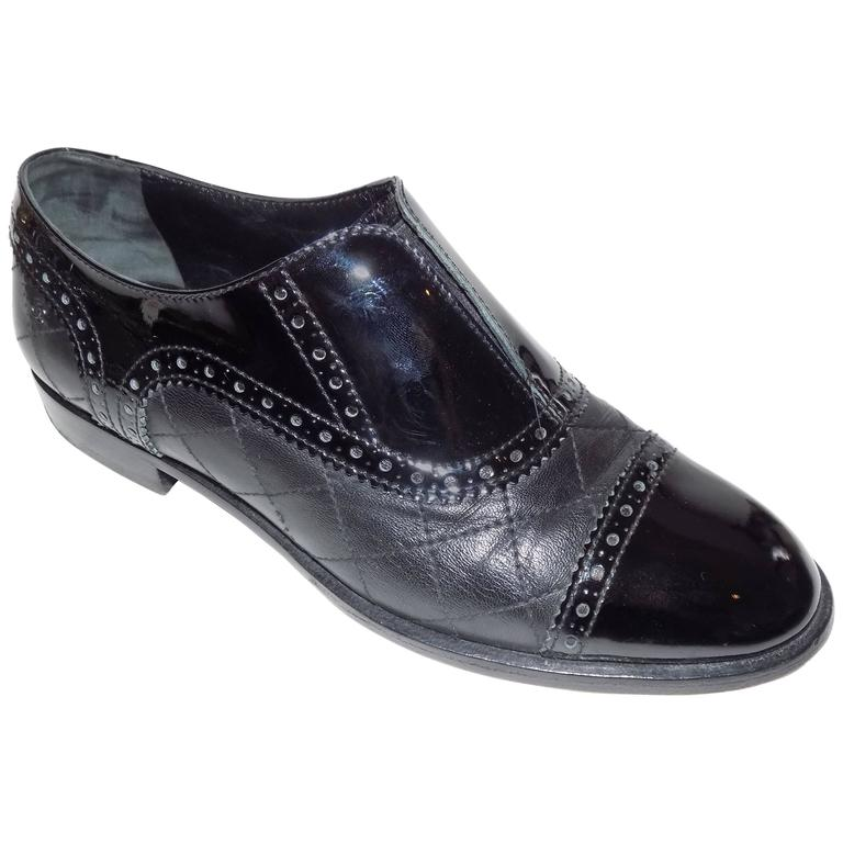 Chanel Black Quilted Oxford Shoes Flats For Sale