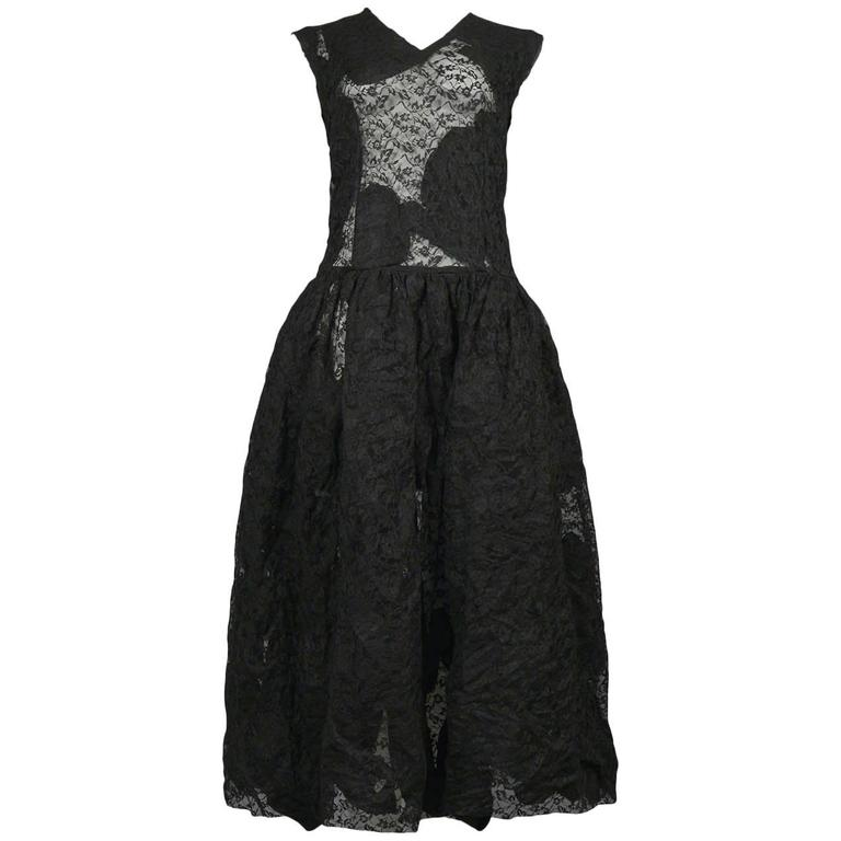 Comme des Garcons Black Lace Ribbon Interior Dress 2013