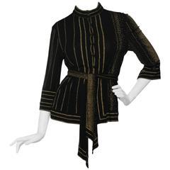 A 1970s Black Leonard Silk Jersey Blouse
