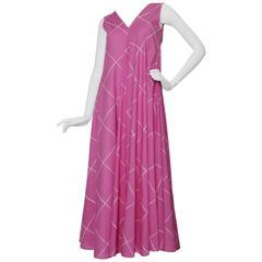 1970s Sleeveless Marimekko Pink Cotton Maxi Dress