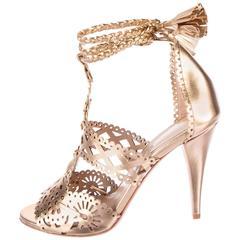 Alberta Ferretti NEW Gold Leather Open Tie Up Heels Sandals in Box