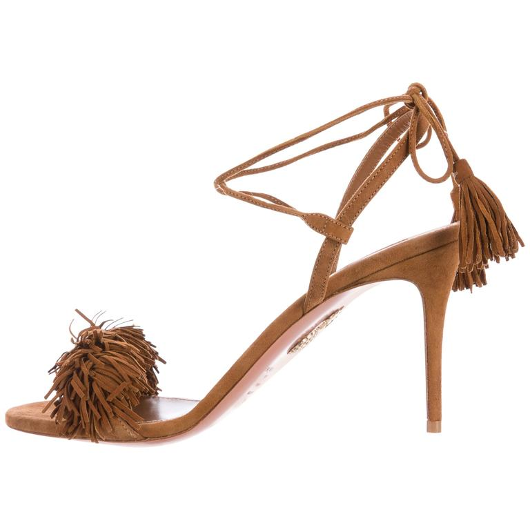 Aquazzura NEW and SOLD OUT Brown Suede Pom Pom Strappy Sandals ...