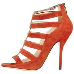 Jimmy Choo NEW & SOLD OUT Orange Gold Suede Open Sandals Heels in Box