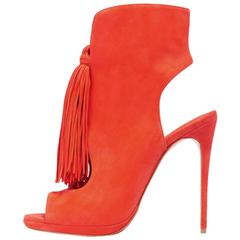 Christian Louboutin NEW & SOLD OUT Orange Suede Fringe Sandals Heels in Box