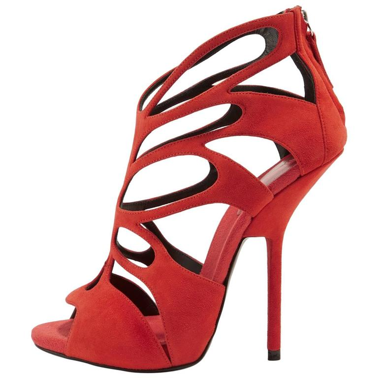 Giuseppe Zanotti NEW & SOLD OUT Red Suede Cut Out Sandals Heels in Box For Sale