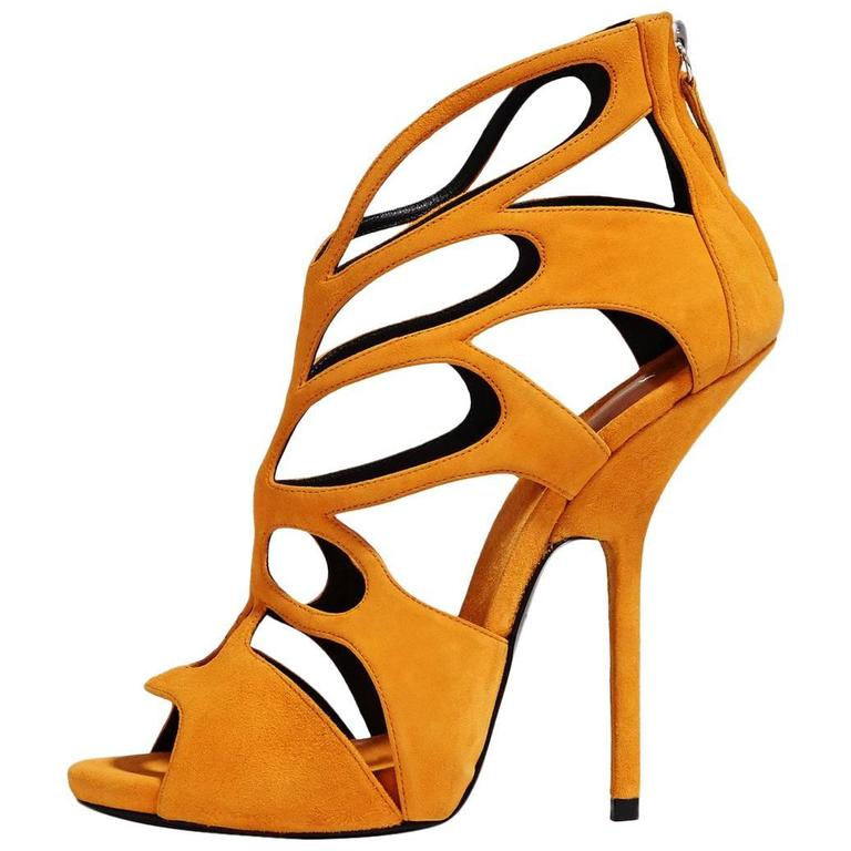 Giuseppe Zanotti NEW & SOLD OUT Mustard Suede Cut Out Sandals Heels in Box 1