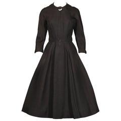 1950s Maurice Rentner Vintage New Look Pleated Black Linen Beaded Dress