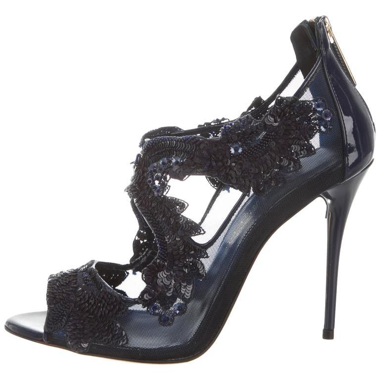 Oscar de la Renta NEW & SOLD Out Sequin Bead Evening Sandals Heels in Box