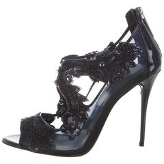 Oscar de la Renta NEW & SOLD Out Sequin Bead Evening Sandals Heels in Box