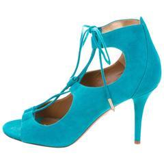 Aquazzura NEW & SOLD OUT Aqua Blue Lace Up Suede Sandals Heels in Box