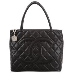 Chanel Black Caviar Silver Carryall Classic Evening Top Handle Tote Bag