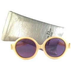 New Vintage Christian Dior 2446 70 Beige Round Optyl Sunglasses