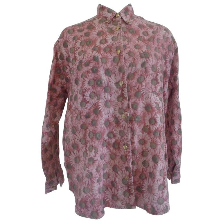 Moschino Pink Flower Cotton Shirt