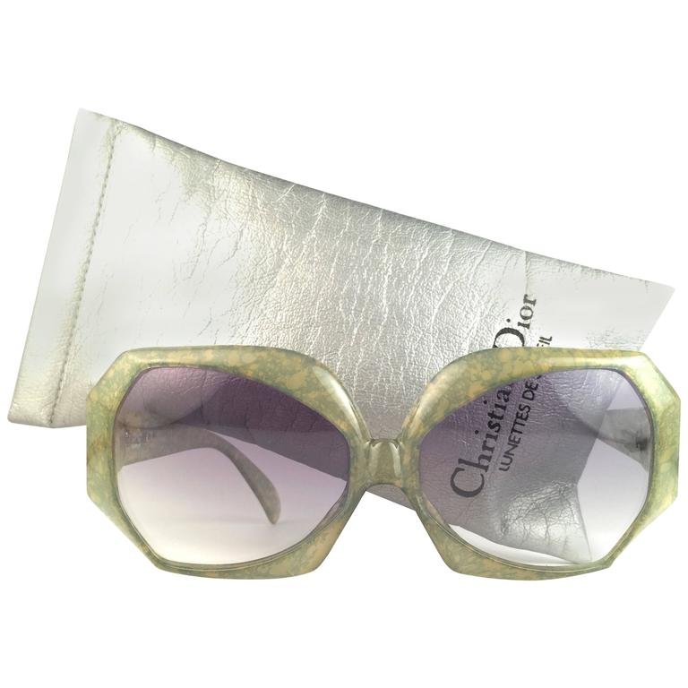 New Vintage Christian Dior 2025 60 Jaspe Green Jerry Hall Optyl Sunglasses