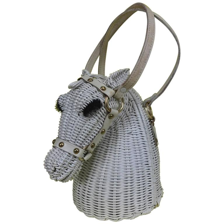 Vintage Marcus Brothers white wicker horse head with eyelashes handbag 1960s 1