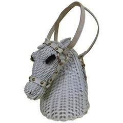 Vintage Marcus Brothers white wicker horse head with eyelashes handbag 1960s