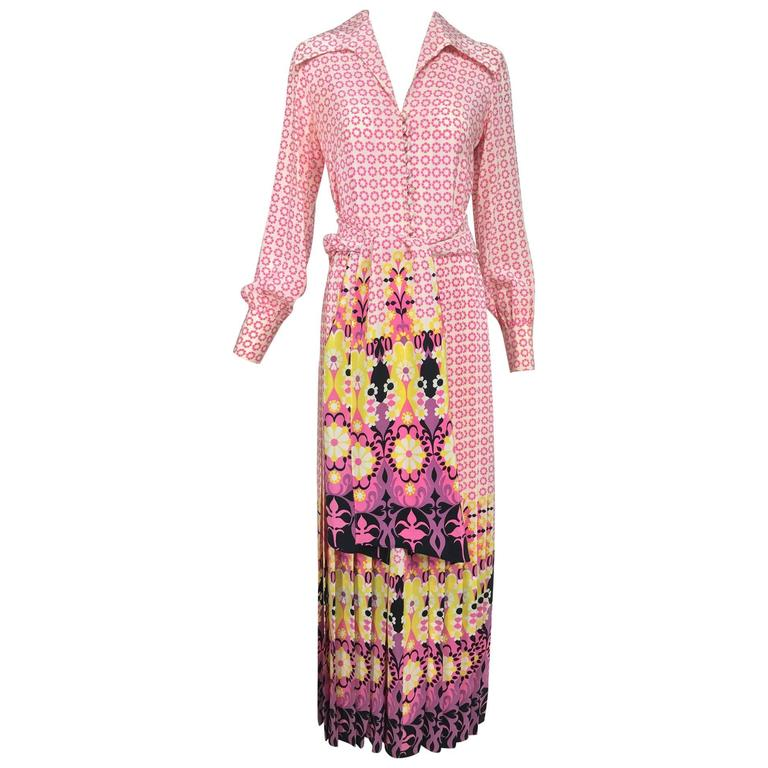 Vintage Martha Boutique silk border print pleated maxi dress 1970s For Sale