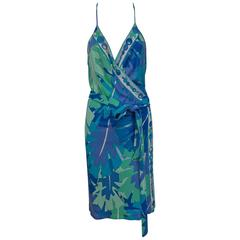 Pucci tropical print silky rayon jersey halter wrap dress