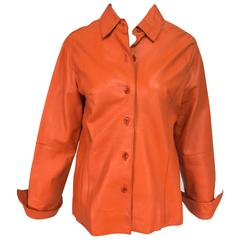 Vintage orange leather button front shirt jacket 1970s