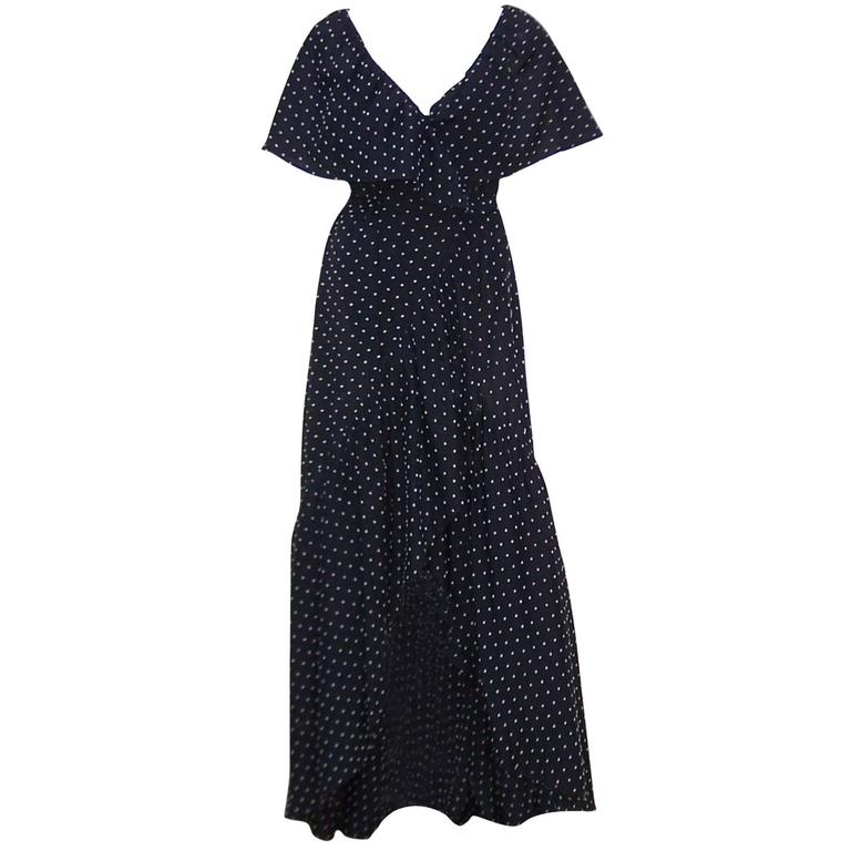Free Spirited 1970's Halston Swiss Dot Wrap Dress For Sale