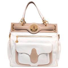 Balenciaga White and Beige Tote Bag