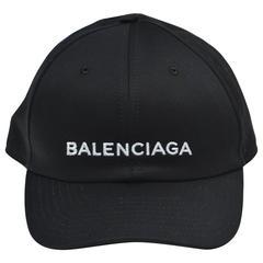 Balenciaga Black Logo Embroidered Hat   NEW