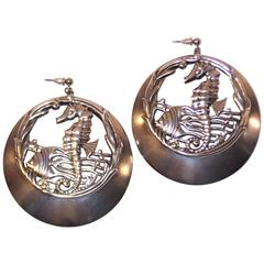 Large 1970's Silver Plate Sea Life Earrings
